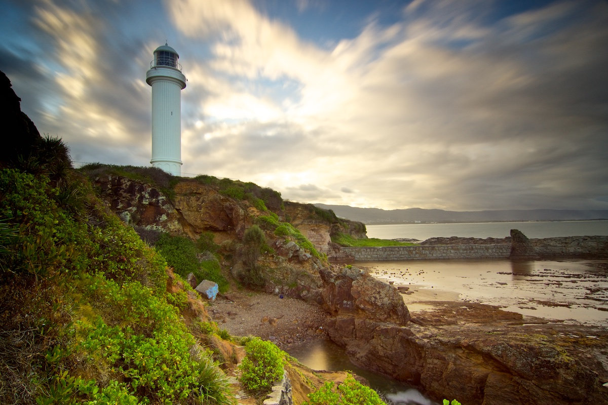 Wollongong Lighthouse from Below - A Golden Afternoon - Belmore Basin / Wollongong Harbour