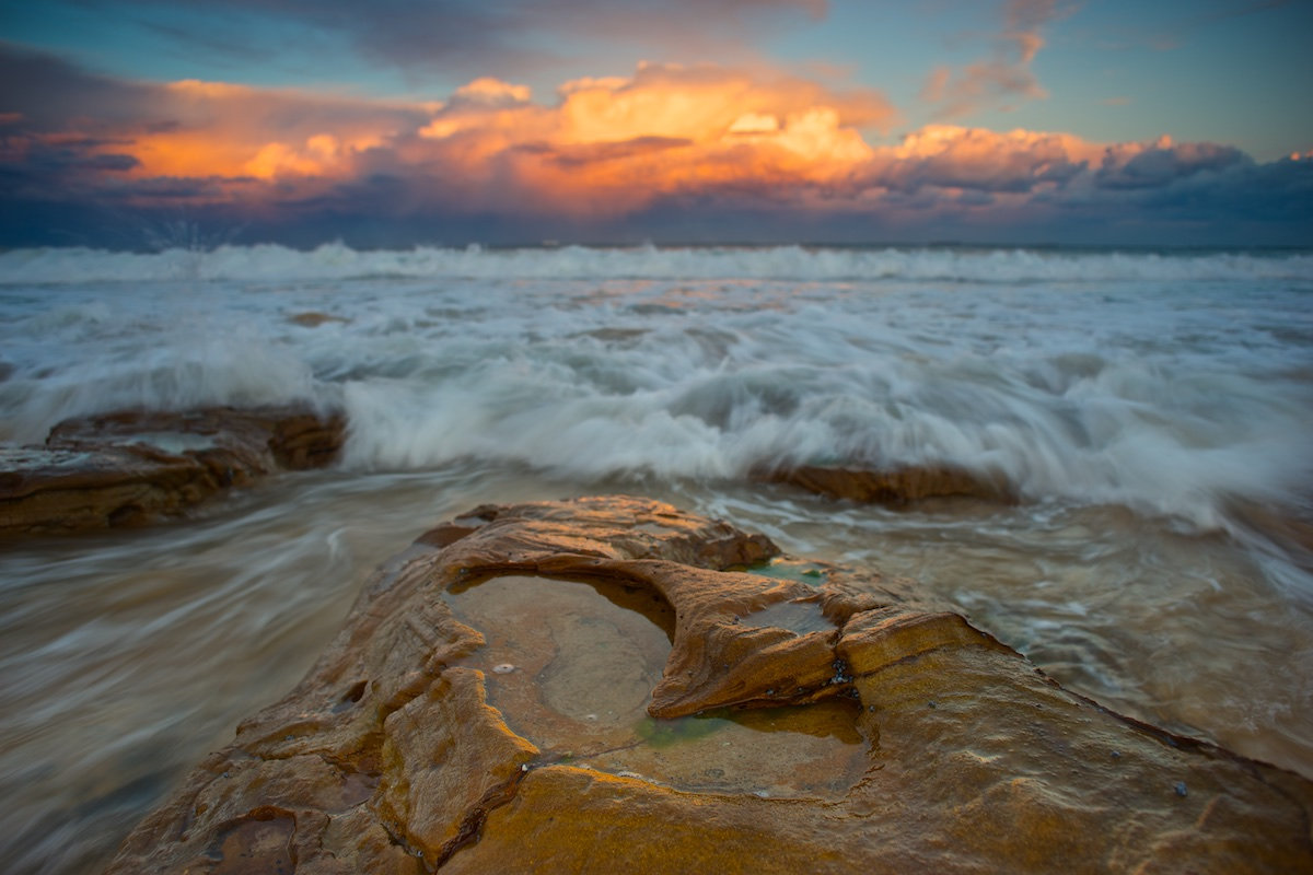 Reef Sunset Clouds (Front Focus Only) - Sandon Point Beach, Bulli