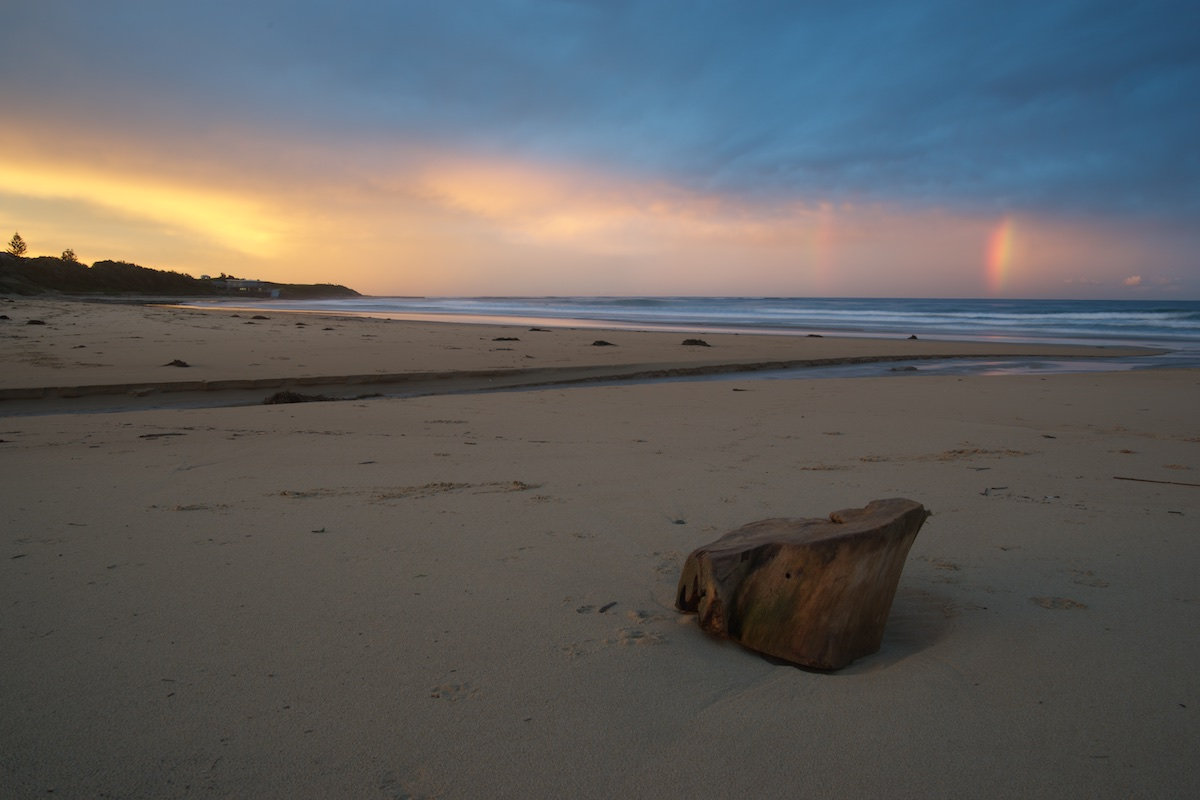 Sandon Point Beach Double Rainbow with Driftwood - Sandon Point Beach, Bulli