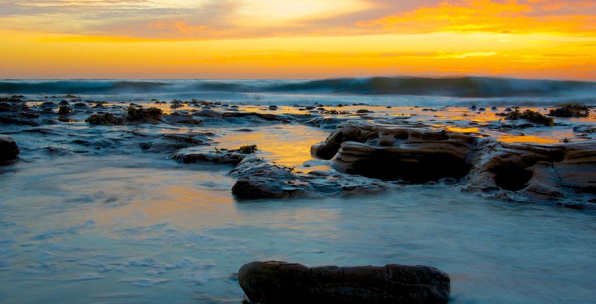Bulli Beach Sunrise Panorama Yellow - Variant 4 - Sandon Point Beach, Bulli