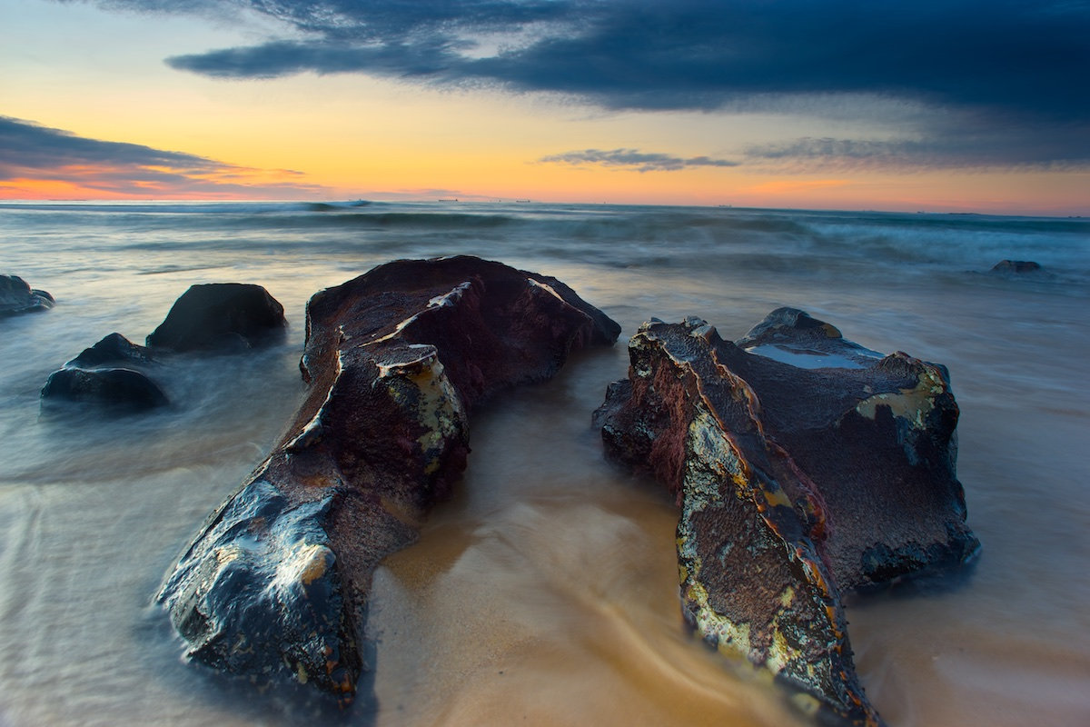 Sandon Point Sunrise Reef Rocks - Sandon Point Beach, Bulli